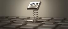 """Help"" Button High Resolution. 3D Image"