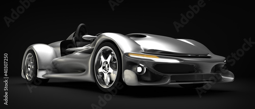 Sports car road-star isolated on black 3d render