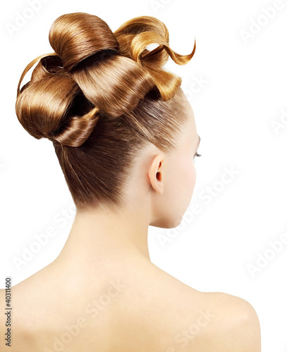 Foto op Plexiglas Kapsalon Creative hairstyle isolated on white background