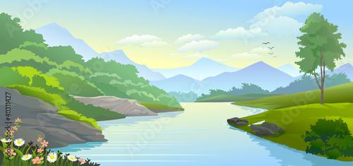 Canvas Prints River, lake PANORAMIC VIEW OF RIVER IN VALLEY
