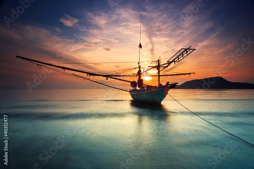 Fotobehang Rood Fishing Boat Hua-Hin beach.