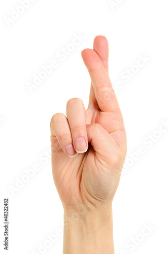 Photographie Hand with crossed fingers