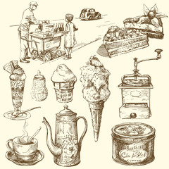 Fototapetacoffee, ice cream, confectionery - hand drawn collection
