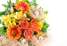 Colorful Flowers Bouquet With Easter Eggs