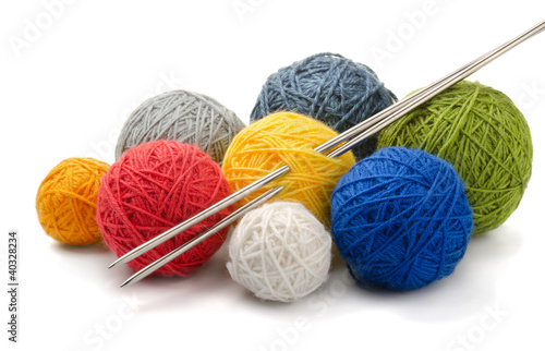 Fotografie, Obraz  Color yarn balls and knitting needles