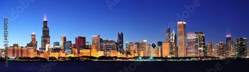 Poster Chicago Chicago night panorama