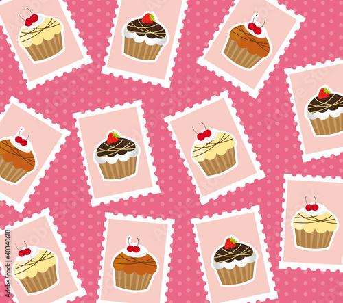In de dag Kinderkamer cup cake postage stamps