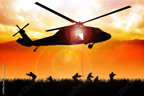 Poster Militaire Helicopter is dropping the troops