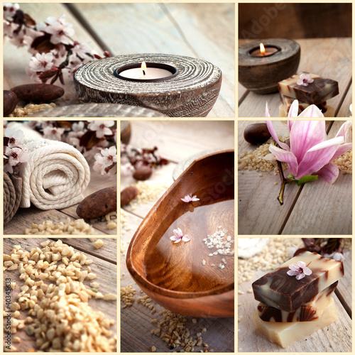 Doppelrollo mit Motiv - Spa collage with magnolia flower (von mythja)