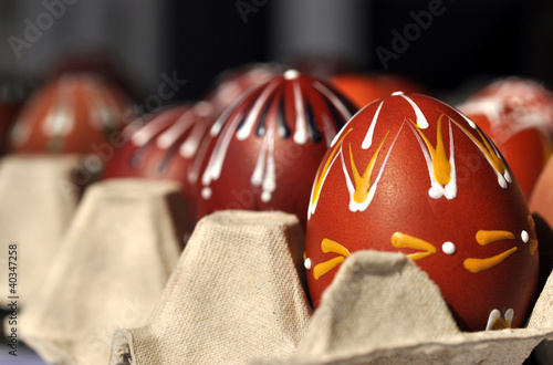 Typical Czech painted Easter eggs in cardboard Poster