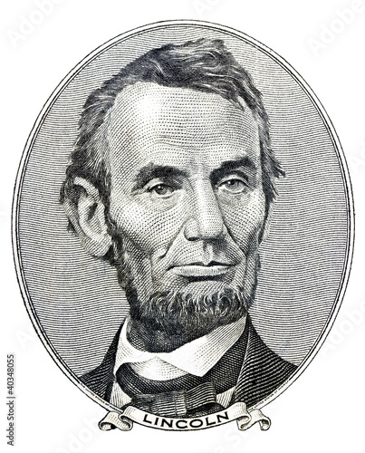 Photographie president Abraham Lincoln as he looks on five dollar bill