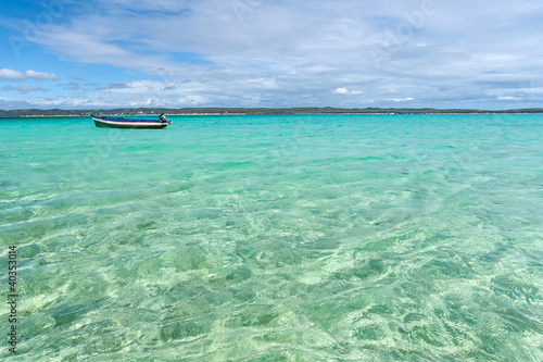 Poster Turquoise Traditional fishing boat