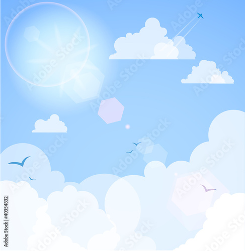 Poster Ciel Good weather background. Blue sky with clouds