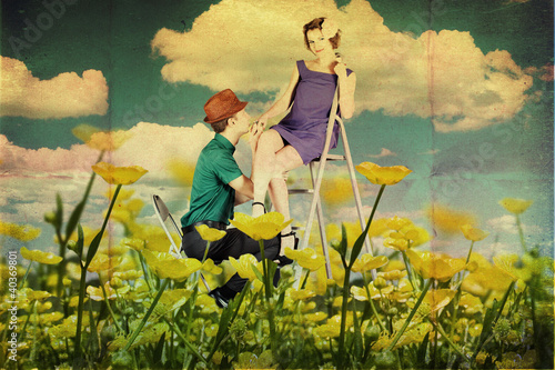 beauty young lovers on the meadow - 40369801