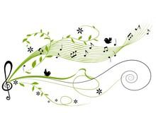 Musical Green Background - Vector Illustration