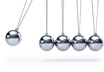 Newtons cradle with five balls