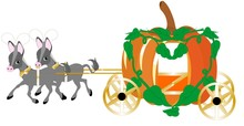 Two Jackasses Proudly Pulling The Pumpkin Carriage..