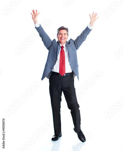 Deurstickers Ontspanning Happy businessman.