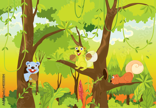 Stickers pour porte Forets enfants squirrels in the jungle
