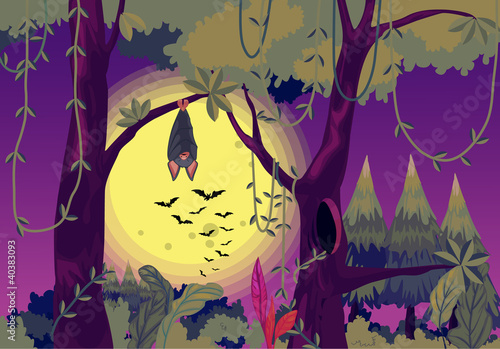 Printed kitchen splashbacks Forest animals Spooky bats