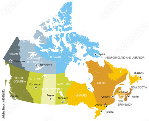 Photo Map of provinces and territories of Canada