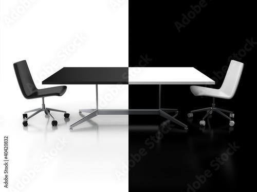 negocjacje-konfrontacja-koncepcja-3d-czarno-biale-biurko