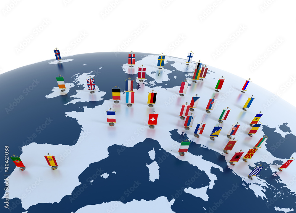 Fototapeta european countries - continent marked with flags