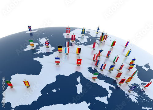 Fotografía  european countries - continent marked with flags