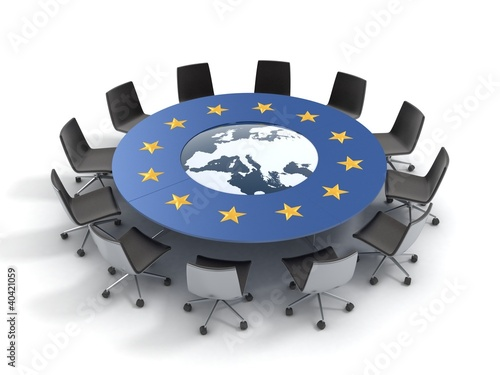 Carta da parati european union round table - EU meeting conference 3d concept