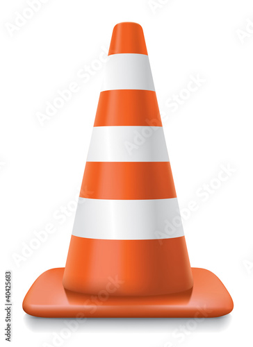 Fotografie, Obraz  striped traffic cone