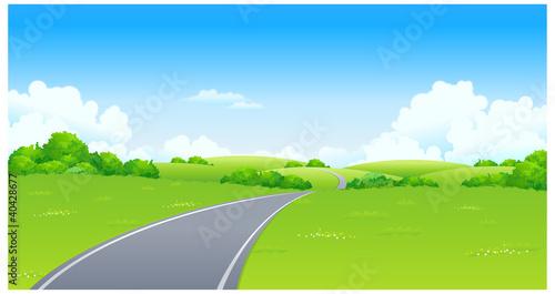 In de dag Lime groen Curved Road over green landscape