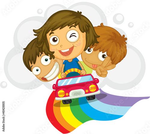 Deurstickers Vliegtuigen, ballon Kids in a car