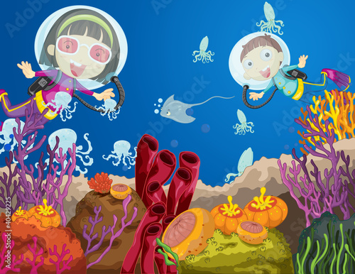 Poster de jardin Sous-marin Children diving