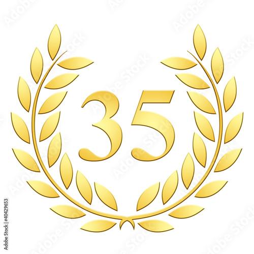 Tela  Lauriers 35 ans or en relief