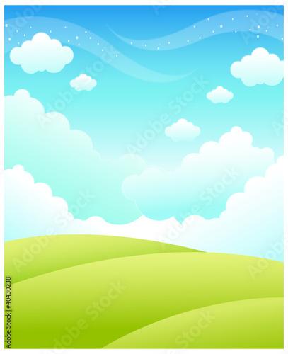 Printed kitchen splashbacks Light blue Green Landscape and sky