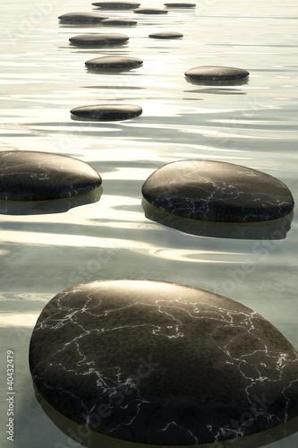 sciezka-z-czarnych-kamieni-w-wodzie