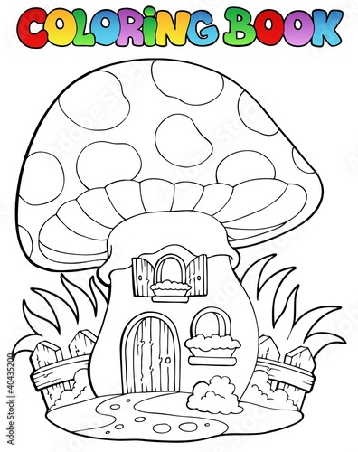 Spoed Foto op Canvas Doe het zelf Coloring book mushroom house