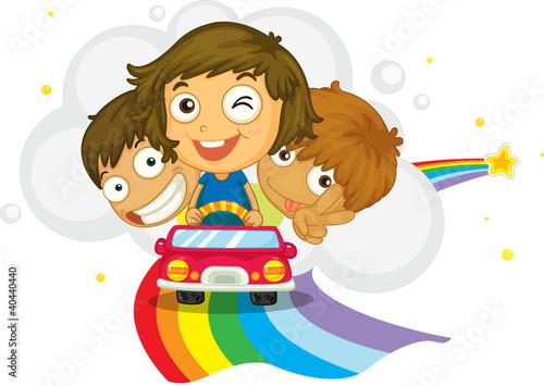 In de dag Regenboog Kids driving