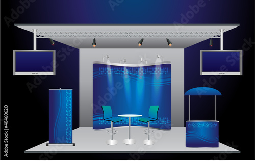 Trade Exhibition Stand Vector : Blank trade exhibition stand and roll up banner vector template