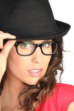 Beautiful Woman In A Black Hat...