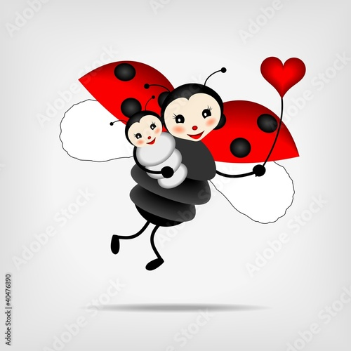 Recess Fitting Ladybugs mother ladybug with baby