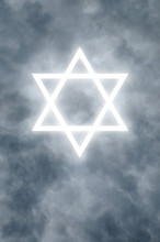 Glowing Star Of David In Clouds
