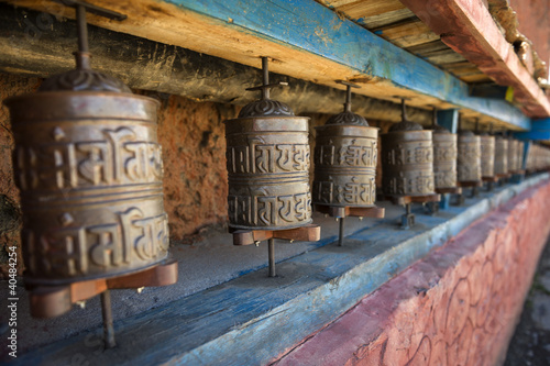 Papiers peints Népal Prayer wheels in Nepal's Monastery.