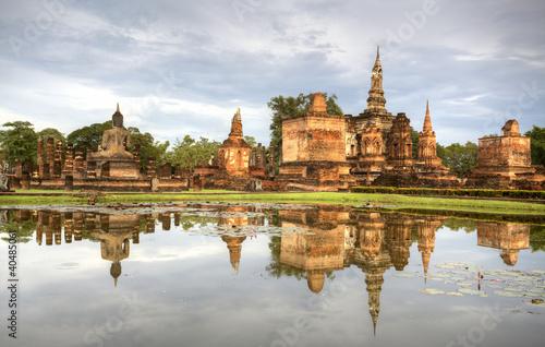 Sukhothai historical temple park in Thailand. Wallpaper Mural