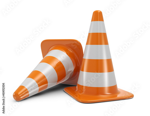 Fotografía  Traffic cones. Road sign. Icon isolated on white background