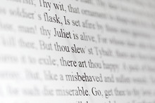Text Of Shakespeare Drama Romeo And Juliet On Black And White
