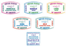 Hawaii And French Polynesia Passport Stamps.
