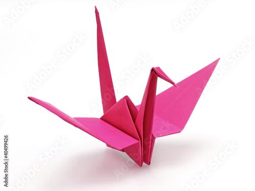 Pink origami bird Poster