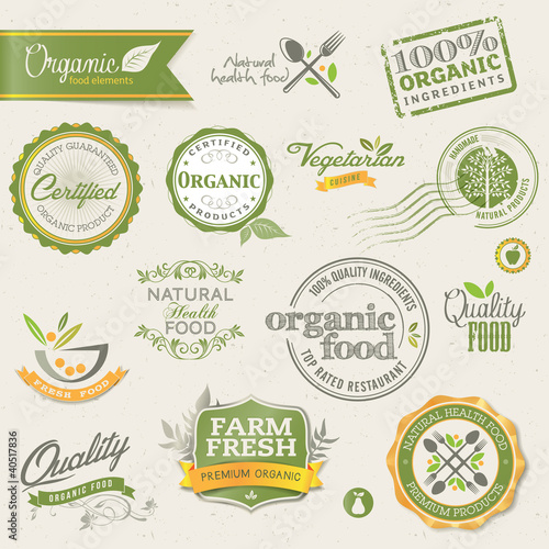 Fotografie, Obraz  Organic food labels and elements
