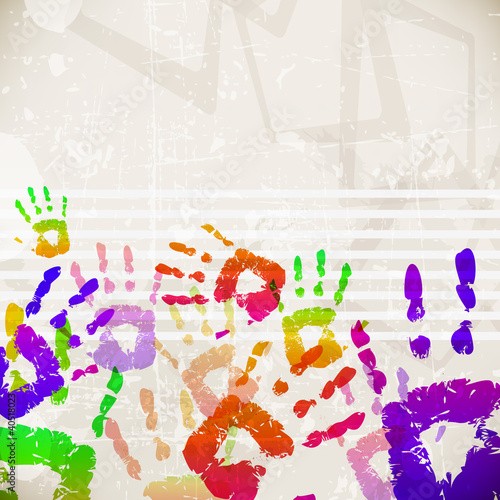 Fotografia, Obraz  Retro Abstract Design Colorful Handprint Template